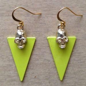 Gold Skull x Yellow Triangle Dangle Earrings